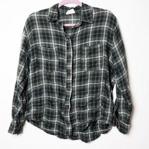 Pins & Needles | UO Olive Crinkled Boho Flannel